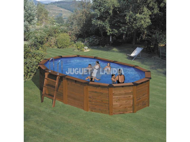 Acheter piscine gre ovale bois 610x375x120 cm juguetilandia for Acheter piscine bois
