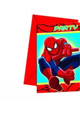 Spiderman pack 6 invitaciones-sobres