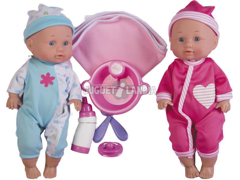 Bonecos Gémeos Bebé 30cm Com Acessórios