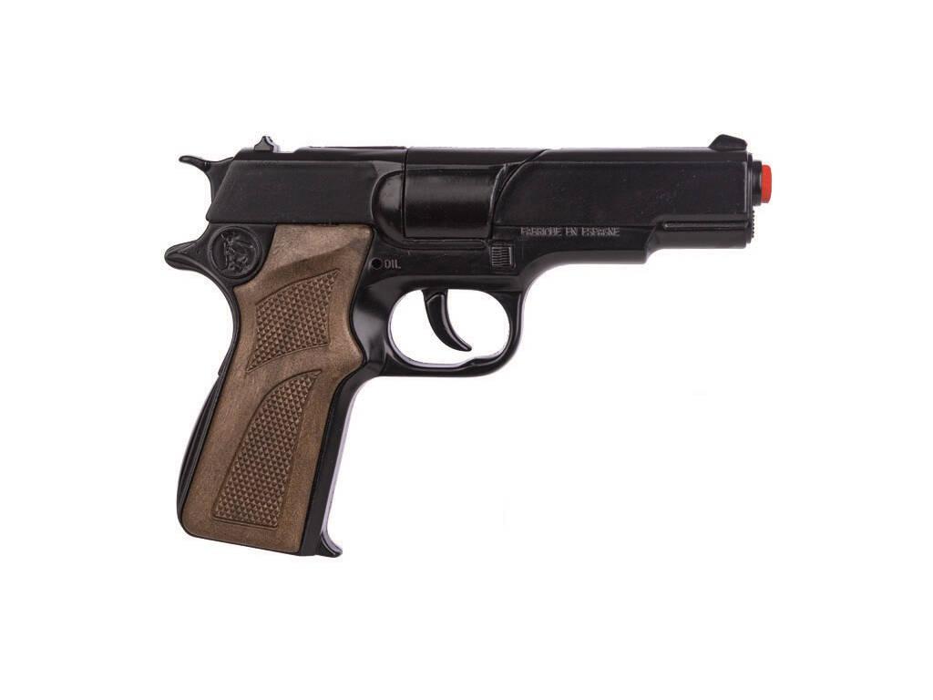 Pistola Preta Policia de brinquedo 8 Tiros Gonher 3125/7