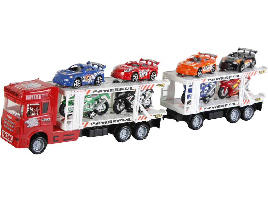 Camion Rojo Friccion con2 Remolques y 8 vehiculos