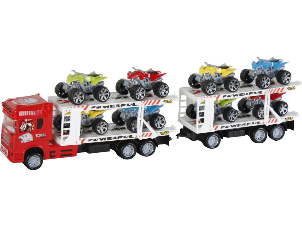 Camion Rosso a frizione con 2 Rimorchi e 8 veicoli