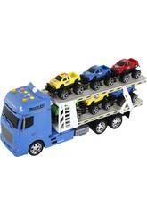 Camion Azul Friccion con Remolque y 6 vehiculos