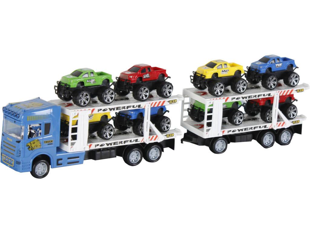 Camion Azul Friccion con2 Remolques y 8 vehiculos