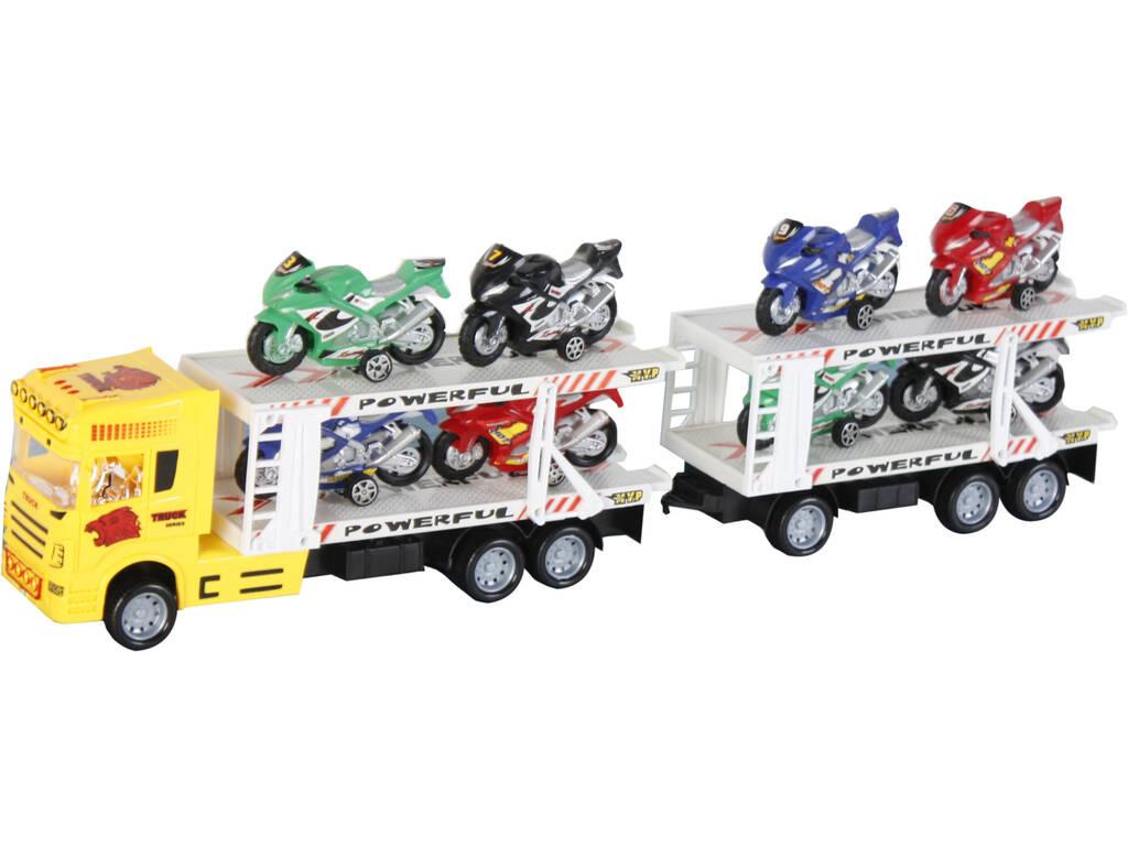 Camion Amarillo Friccion con2 Remolques y 8 vehiculos