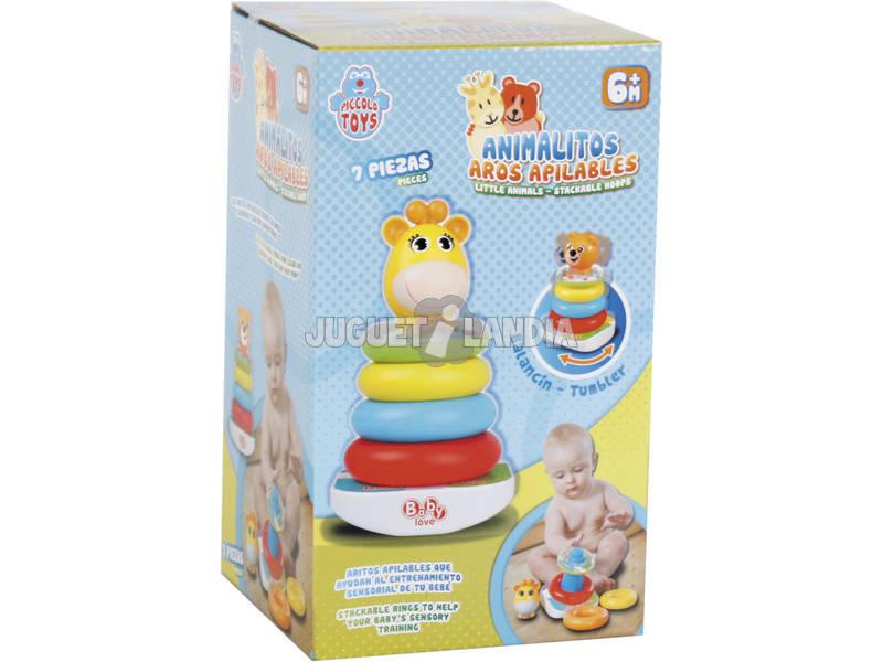 Brinquedo Para Bebé Animalzinho Sortido Aros Apilháveis e Som 21cm 7 Peças