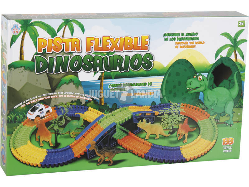 Pista de Carros Circuito Flexível Com Dinossauros 133 Peças