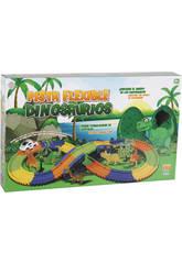 Piste de Voitures Circuit Flexible avec Dinosaures 133 Pièces