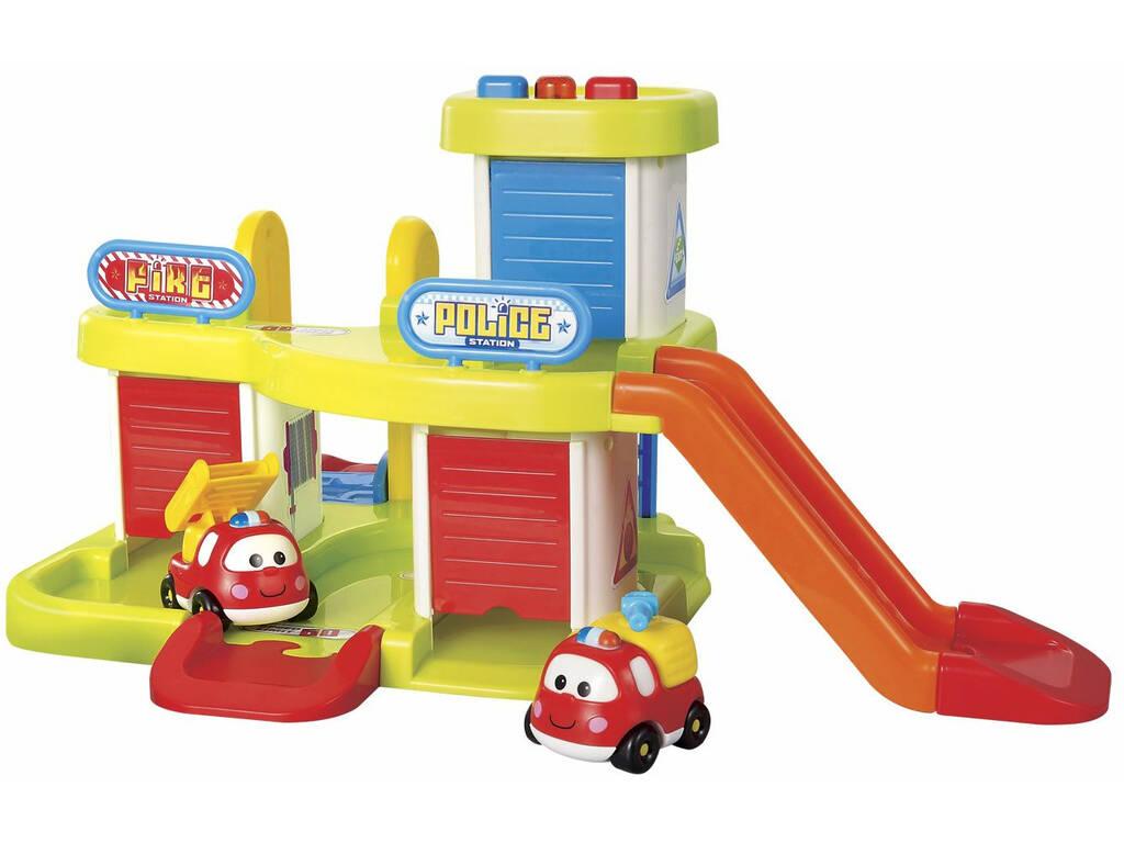 Playset Polizia e Pompieri 3 Veicoli Luci e Suoni