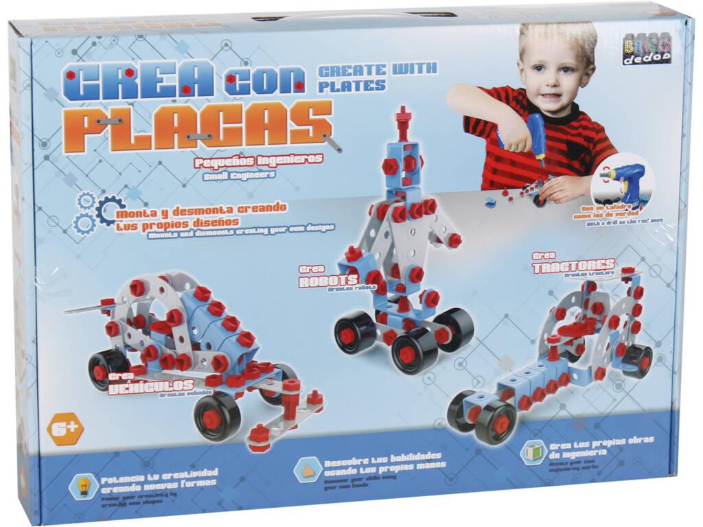 Jogo de Construção Cria Robôs Com Placas 7 Figuras em 1
