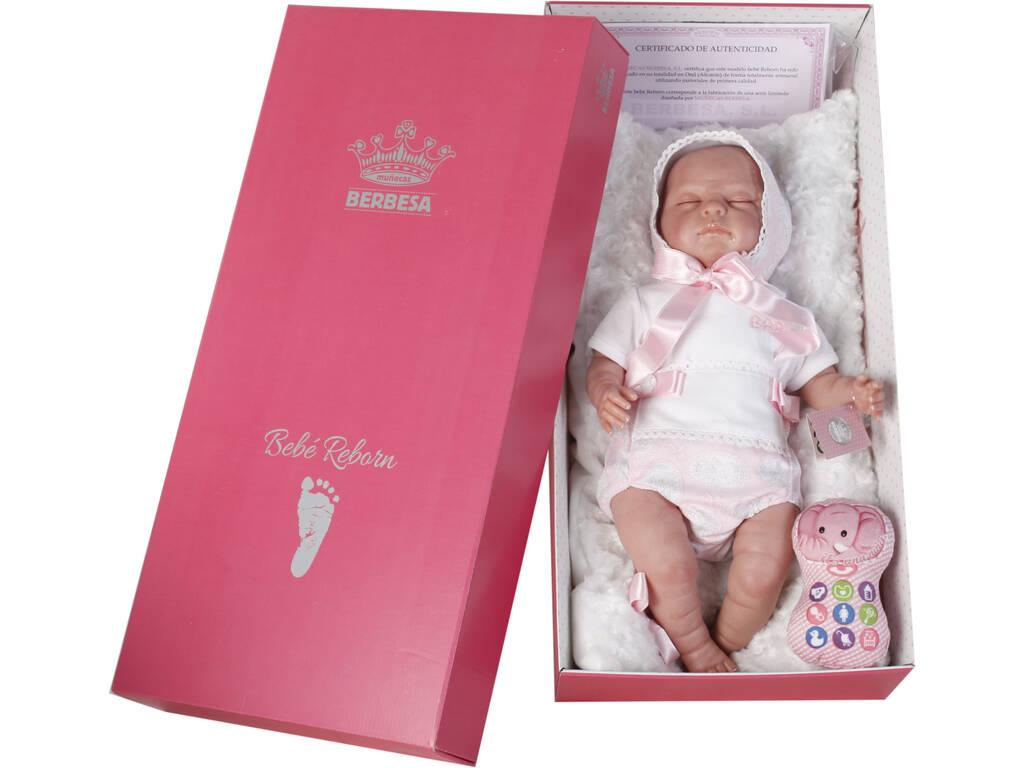 Bambola Reborn Baby 52 cm con Vestito Bianco Berbesa 5301