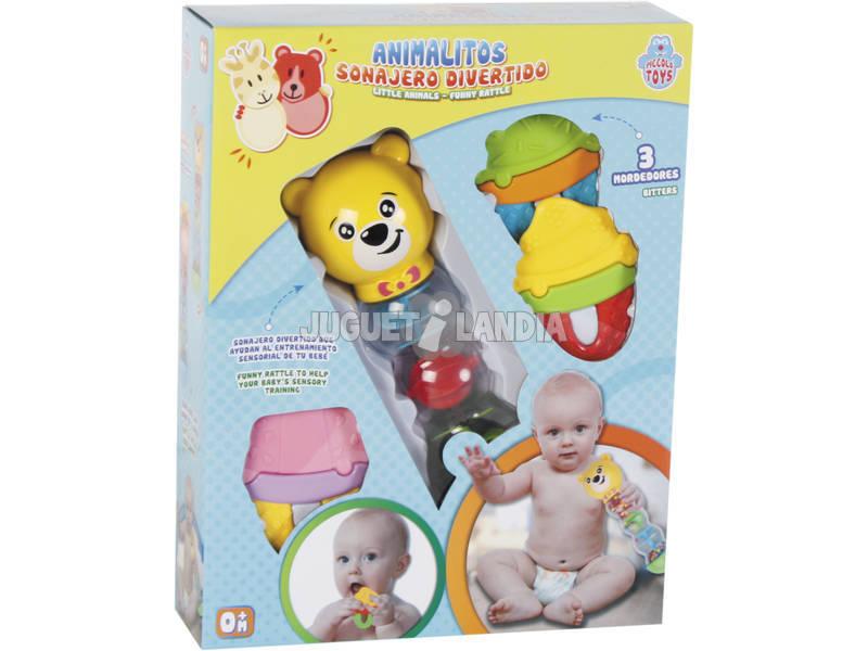 Brinquedo Para Bebé Set Chocalho e 3 Mordedores Sortido 22x7x7cm 0 - 4 anos