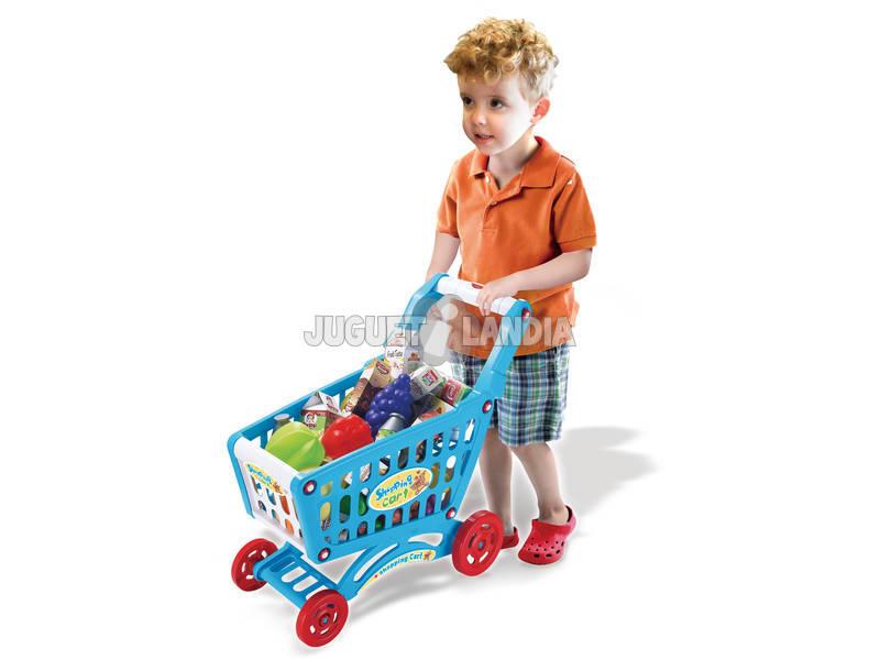 Carrinho de Compra Azul 46 Peças Com Luzes e Sons 42x24x47cm