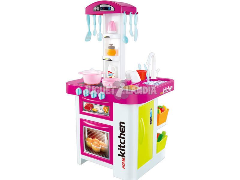 Cozinha Rosa Multifunção Com Circuito Água e Luz 36 Peças 76.5x39x41cm