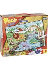 imagen Puzzle Coloreable Animales Selva 24 Piezas y 12 Rotuladores 89.5x82.5cm