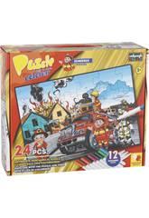 Puzzle à Colorier Pompiers 24 Pièces et 12 Feutres 89,5 x 82,5 cm