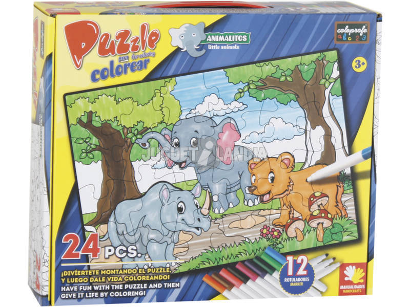 Puzzle Coloreable Animalitos 24 Piezas y 12 Rotuladores 89.5x82.5cm