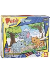 Puzzle da Colorare Animaletti 24 pezzi e 12 Pennarelli 89,5x82,5 cm