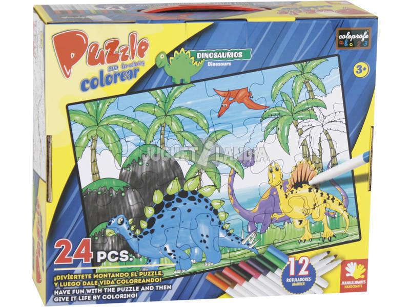 Puzzle Colorir Dinossauros 24 Peças e 12 Marcadores 89.5x82.5cm