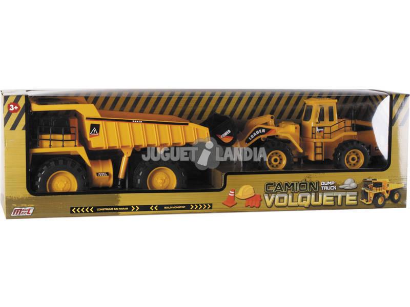 Set Veicoli Camion con cassone ribaltabile 19x43x21cm e Pala Caricatrice 15x44x15.5cm