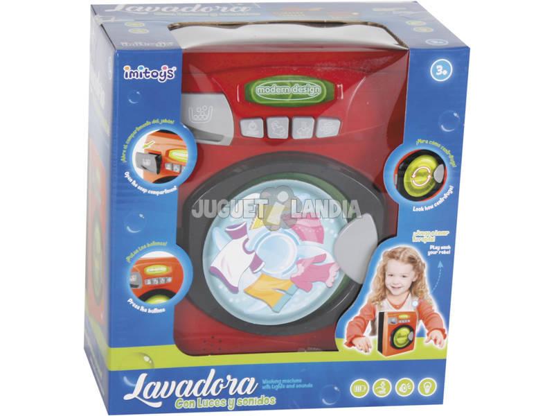 Máquina de lavar roupa Luzes e Sons Vermelha 20x16x10cm