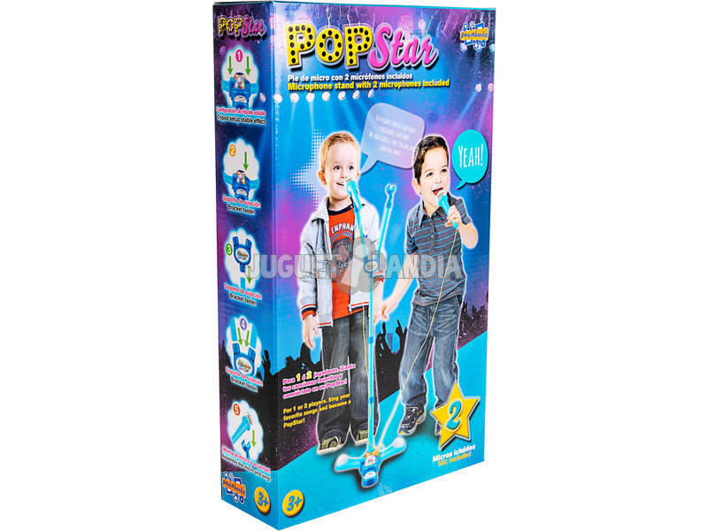 Pop Star Azul Con 2 Micrófonos Luces y Pie Ajustable 60-104cm