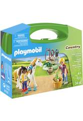 imagen Playmobil Maletín Grande Cuidado De Caballos 9100