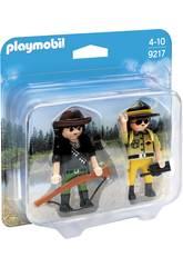 imagen Playmobil Dúo Pack Ranger y Cazador Furtivo 9217
