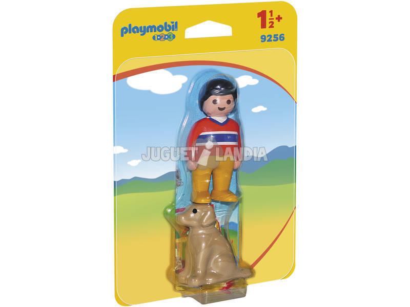 Playmobil 1.2.3 homem com cão 9256