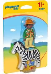 imagen Playmobil 1.2.3 Hombre Con Cebra 9257