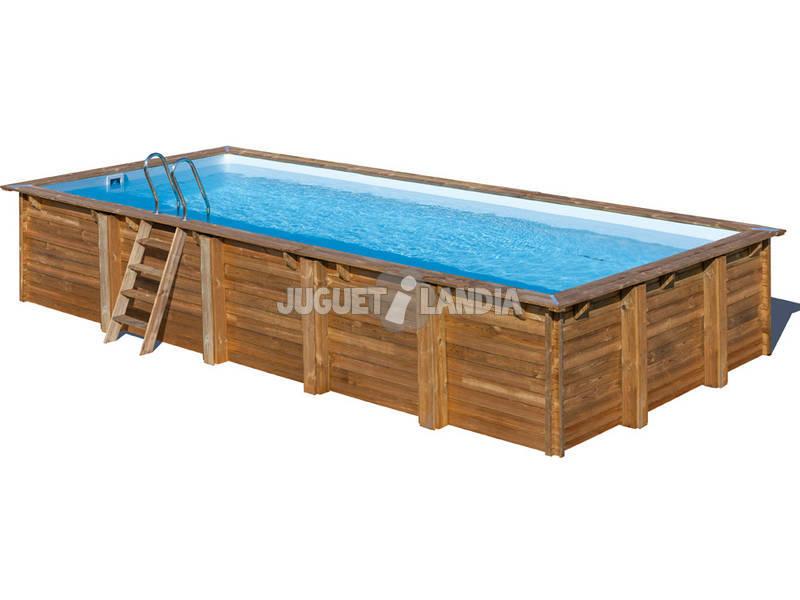 Piscina rectangular madera cardamon 1200x400x146 cm gre for Piscina madera rectangular