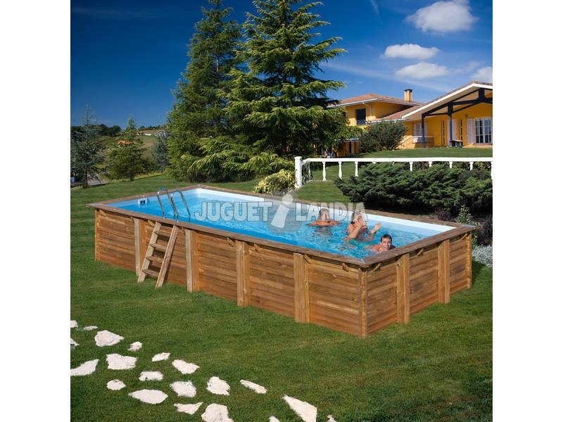 Piscina rectangular madera cardamon 1200x400x146 cm gre - Piscina madera rectangular ...