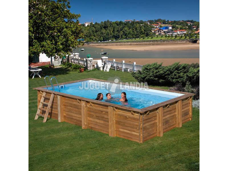 Piscina rectangular madera braga 800x400x146 cm gre for Piscinas desmontables rectangulares intex