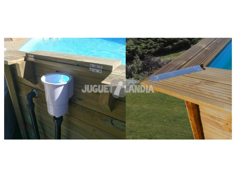 Piscina rectangular madera braga 800x400x146 cm gre - Piscina madera rectangular ...