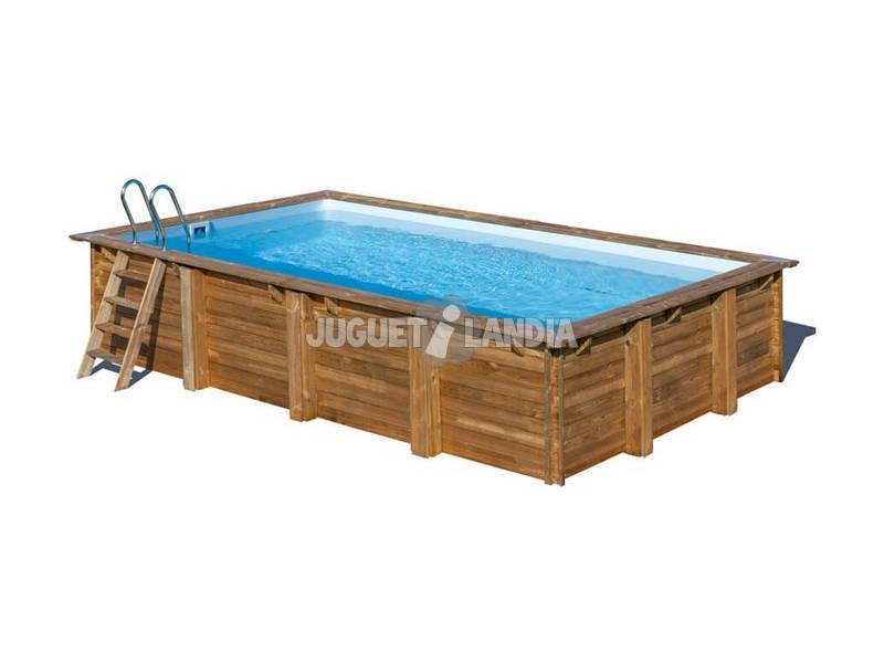 Piscina rectangular madera marbella 400x250x119 cm gre for Piscina madera rectangular