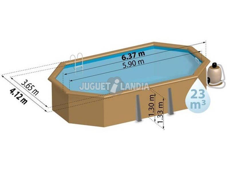 Acheter piscine en bois ovale safran 637 x 412 x 133 cm for Acheter piscine en bois