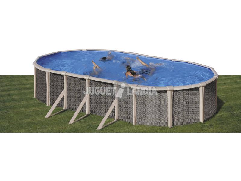 Piscina Oval Imitação Rattan 760x460x135 cm. Gre KITPROV760H