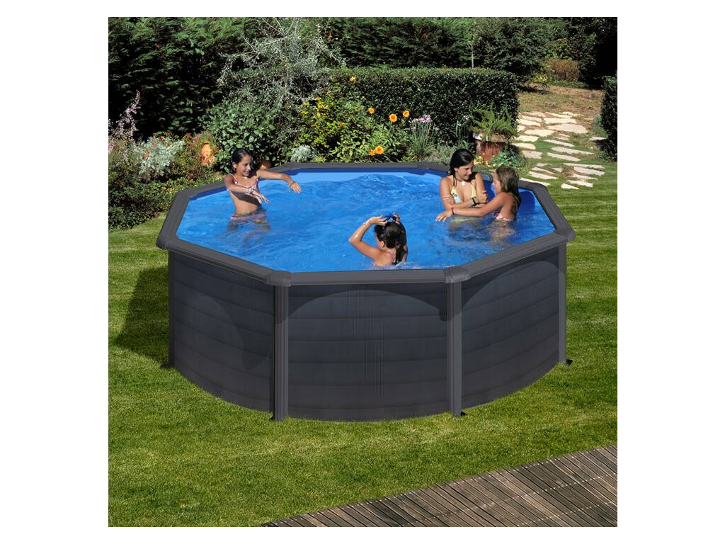 Piscina redonda grafito kea 460x120 cm gre kit460gf for Juguetilandia piscinas desmontables