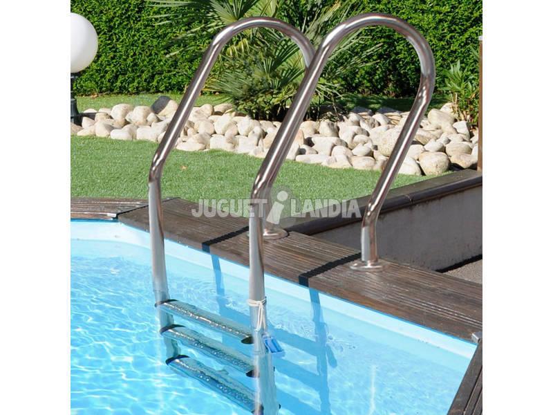 Escalera para piscina elevada de madera gre 126673 for Piscina elevada madera