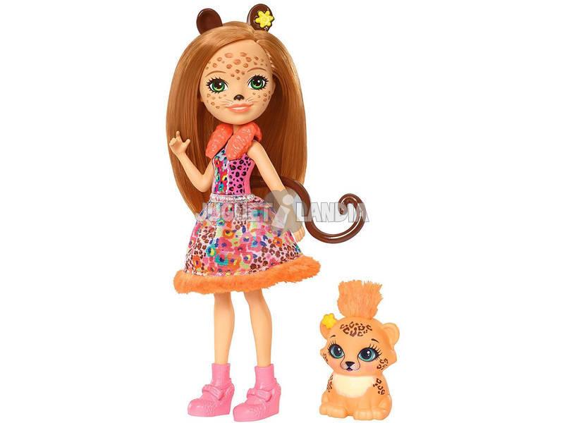 Enchantimals Cherish il Ghepardo Bambola e Cucciolo Mattel FJJ20