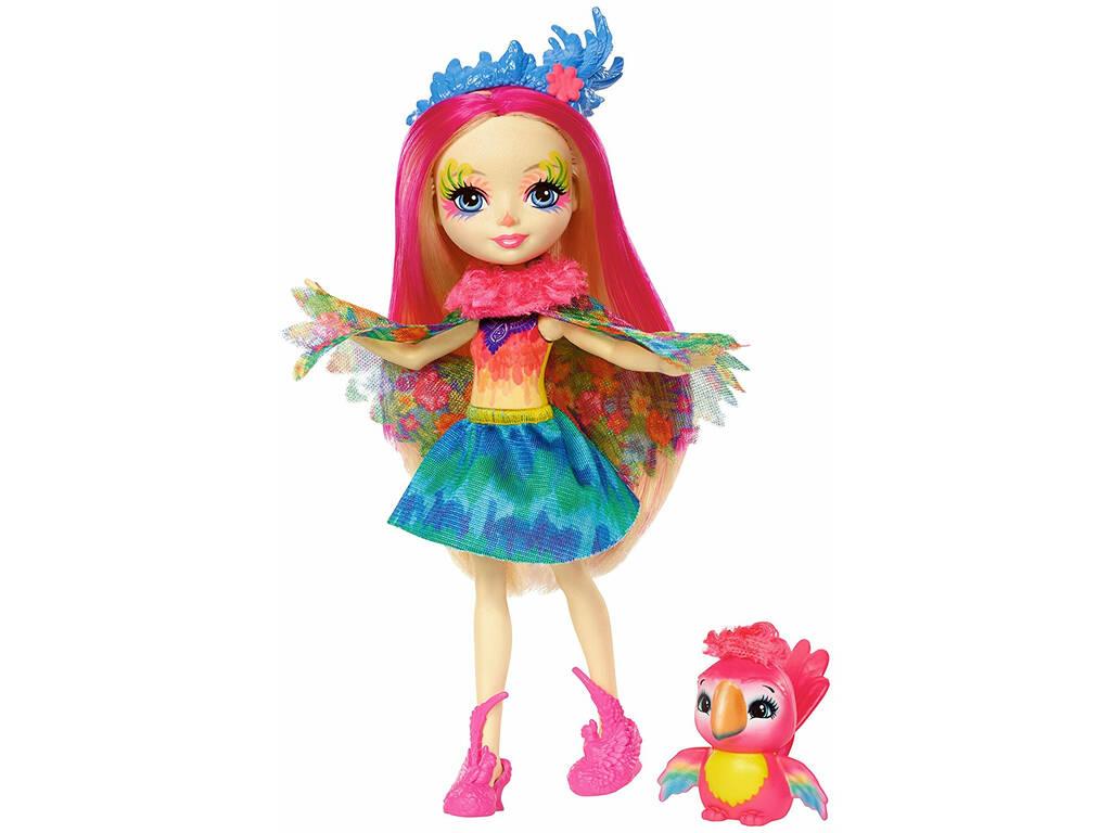 Enchantimals Boneca Peeki parrot e Animal de Estimação Sheeny Mattel FJJ21