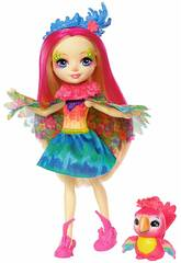 Enchantimals Muñeca Peeki parrot y Mascota Sheeny Mattel FJJ21