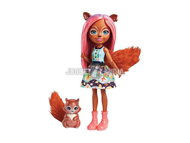 Enchantimals Boneca e Animal de Esrtimaação Sancha Esquilo Mattel FMT61