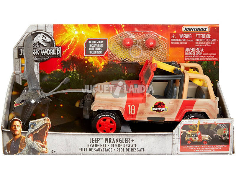 Jurassic World Jeep con Trappola Rete Set Veicolo con Dinosauro Mattel FNP46