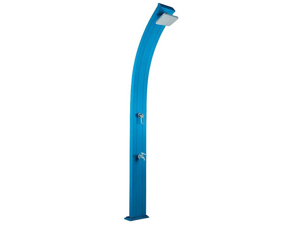 Chuveiro solar de alumínio primavera azul com enxaguar pés Poolstar DS-A122BL