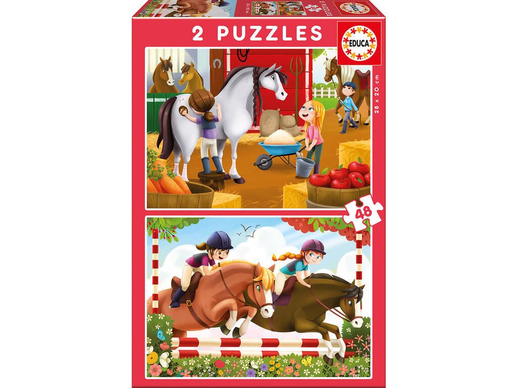 Puzzle 2X48 Cuidando Caballos Educa 17150