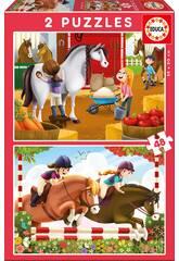 imagen Puzzle 2X48 Cuidando Caballos Educa 17150