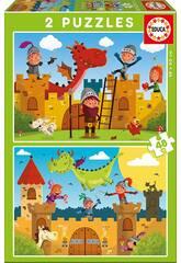 imagen Puzzle 2X48 Dragones y Caballeros Educa 17151