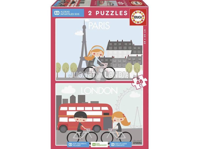 Puzzle 2X48 Parigi & Londra Apanona Educa 17726