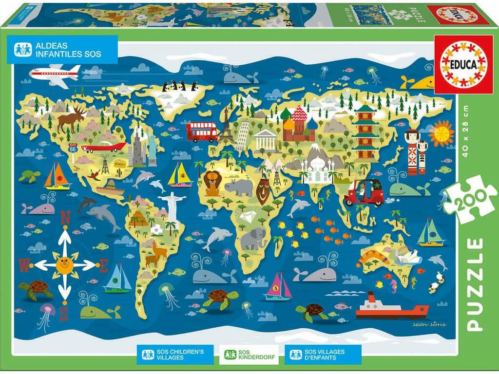 Puzzle 200 Mappamondo Aldeas Infantiles SOS di Sean Sims Educa 17727